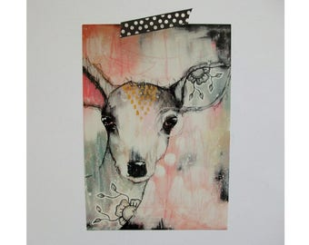 Deer doe glossy oversized postcard poster print painting art print A5 size - Sanctuary