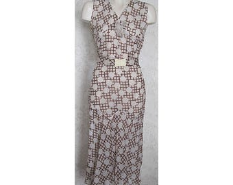 1930s Dress / Brown and White Polka Dot Vintage 1920s Sleeveless Dress