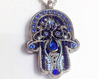Colorful Hamsa necklace, Swarovski crystals & beads Handmade - ADAYA Jewelry