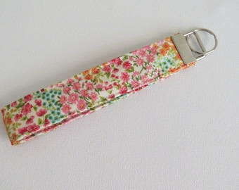 FREE SHIPPING ALWAYS - Floral print Fabric Keychain, Key Fob Wristlet, Key Fob Keychain, Key Wrist Strap.