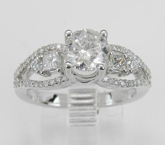 1.45 ct Round Brilliant Natural Diamond Engagement Ring 14K White Gold Size 6.5