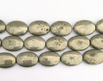 Large Pyrite Oval Puff Beads 25x18x6mm Large Pyrite Beads - Fool's Gold Pyrite Beads