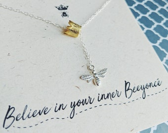 """Silver Bee Necklace """"Believe In Your Inner Beeyonce!"""" Necklace//Lariat Style//Queen Bee//Beyonce//Gold Crown// Quote jewellery//Gift box"""