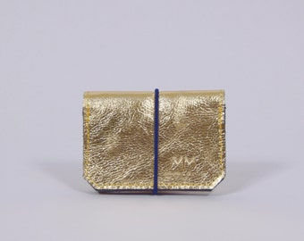Isaac - golden/pink leather wallet