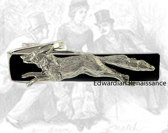 Fox Hound Run Tie Clip Inlaid in Hand Painted Black Enamel Tie Bar Accent Woodland Vintage Inspired Custom Color Options Available
