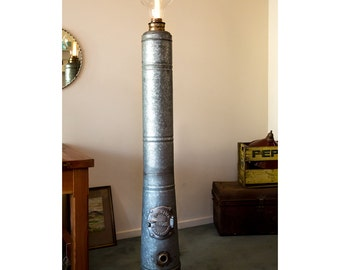 Industrial Floor Lamp - Reclaimed chip heater stand, extra large bulb feature, up cycled, re-purposed