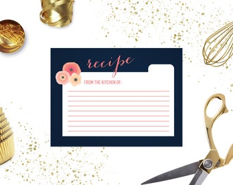 Navy and Coral Flower Bridal Shower Recipe Card
