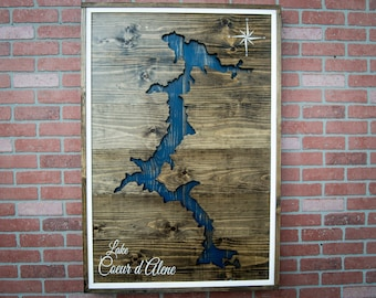 Custom Lake Art Wood Lake Sign Wood Lake Map Lakehouse Sign Lakehouse Decor Lake House Sign Lake House Wall Art Cabin Lake