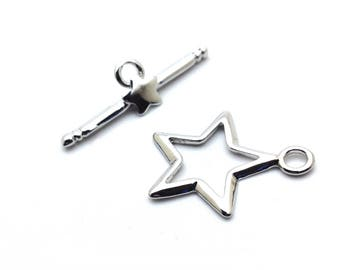 x 2 T toggle clasps shaped star, 15x24mm: AF0111