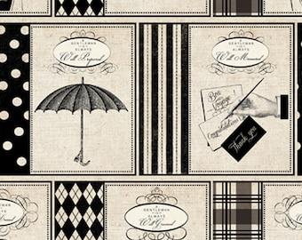 Gentleman Fabric - Madame et Homme by Pela Studios for David Textiles 3136 3C Cream - 1/2 yard