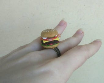 Hamburger ring, Valentine's Day, Burger ring, Cheeseburger ring, Burger jewelry, miniature food jewelry, Food ring, Fast food jewelry