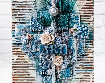Home decor - Mixed media art - Collage on canvas -  Butterfly collage - Canvas art - Blue Art