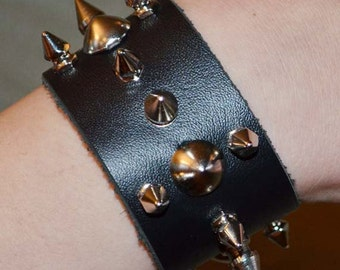 Black Studded Spiked Cuff