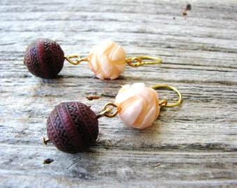 Vintage Bead Earrings, Peach Earrings, Purple Earrings, Simple Beaded Earrings, Minimalist Earrings