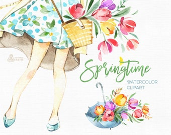 Springtime. Watercolor floral clipart, girls, tulips, frame, bicycle, umbrella, boots, spring, template, wedding, flourish, bright, bouqets