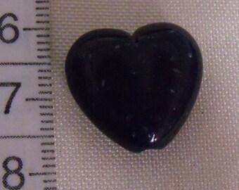 resin beads, set of 16, heart, dark blue, 18mm x19mm