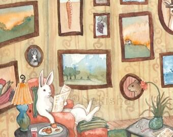 The Art Collector - Fine Art Rabbit Print