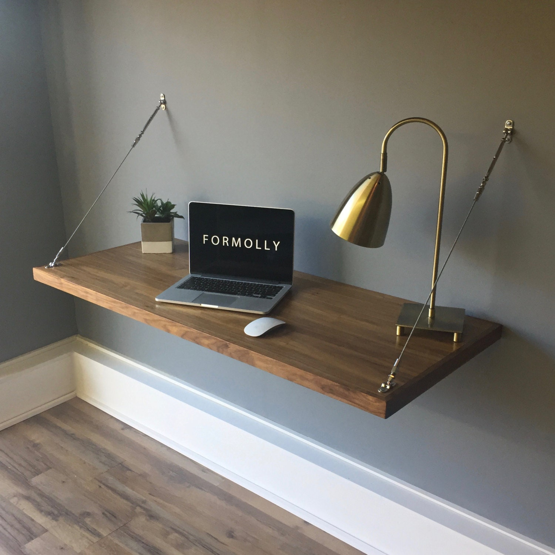 wall mounted floating desk walnut rh etsy com wall mounted floating desk ikea wall mounted floating desk diy