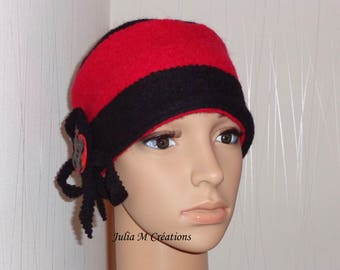 Designer Hat - Hat girl-unique - made black and Red boiled wool.