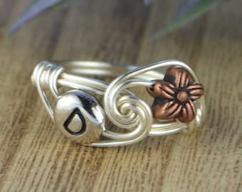 Flower and Any Initial Ring- Sterling Silver, Yellow or Rose Gold Filled Wire Wrapped/Copper Tone Bead- Any Size 4 5 6 7 8 9 10 11 12 13 14