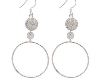 925 Sterling Silver Druzy Round 10mm Bezel Set Gemstone Dangle Earrings