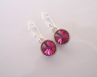 Fuchsia Swarovski Crystal Earrings on Sterling Silver Ear Wires - Rivoli Crystal in Hot Pink Gift under 20 Bridesmaid Jewelry