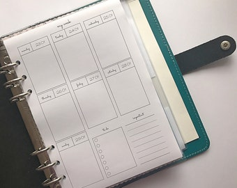 PRINTED Week On Two Pages, Minimal Insert, Undated/Dated, A5 Inserts, 2018 Inserts,A5 Planner, 2018 Planner, 2018 A5 Inserts, Planner Insert