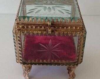 Antique Glass & Brass Trinket Jewelry Box.