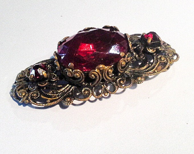 Antique Ruby Red Glass & Brass Filigree Lace Work Brooch Sash Pin Czech Art Deco