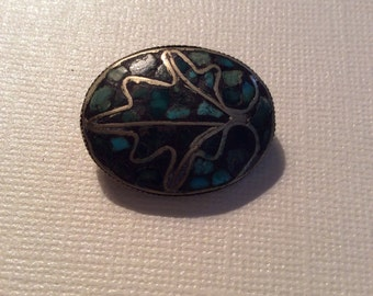 Turquoise mosaic brooch