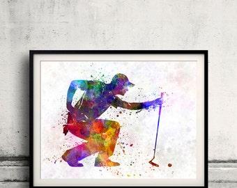 Man golfer crouching silhouette 8x10 in. to 12x16 in. Poster Digital Wall art Illustration Print Art Decorative  - SKU 0505