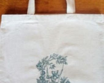 Tote Bag-  Vintage Girl on Swing -Embroidered Tote Bag- Embroidered toile girl on swing - Embroidered bag - Shopping bag
