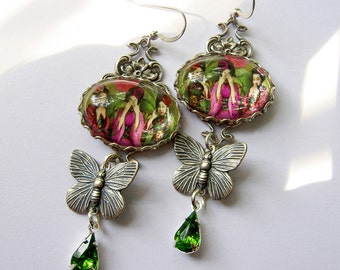 Geisha Earrings, Earrings, See Hear Speak No Evil,  Butterfly Jewelry, Art Earrings, Whimsical Earrings, Colorful Jewelry, Gift for Her