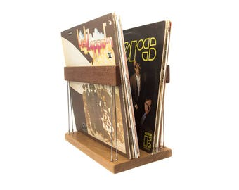 Minimal vinyl record storage rack in wood