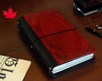 The Great Gatsby Leather Travelers notebook MANY SIZES journal  Midori  Fauxdori  planner Fieldnotes A6 passport insert A5,B6 slim art deco