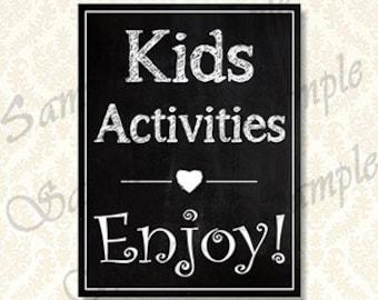 Kinder Aktivitäten Schilder, Tafel Hochzeit Kinder Tabelle, Sign, druckbare Rezeption Kinder Aktivitäten Beschilderung, Kinder Party-Aktivität, 00121