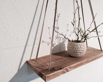 Large Wood Swing Shelf   Gray And Brown Leather   Natural Wood Shelf    Urban Wood