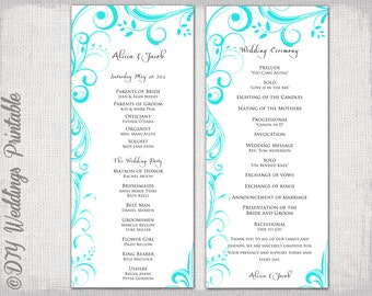 """Wedding program template instant download Turquoise Blue """"Scroll"""" wedding order of ceremony  DIY printable order of service -YOU EDIT"""