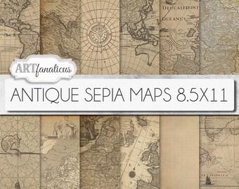 "Digital maps 8.5x11 digital paper, ""ANTIQUE SEPIA MAPS 8.5x11"" backgrounds,sepia, vintage map, world map, America, Europe, Asia, Australia"