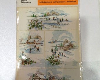 Vintage Germany Stickers-HERMA. Christmas ،snow and skiing