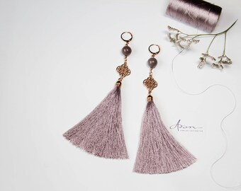 Earrings with tassels and gems