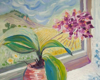 Pink Orchid original oil painting still life window view landscape on canvas 12x12in by Bee Skelton
