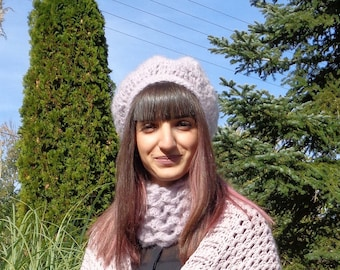 Mohair wool crochet loop scarf and hat