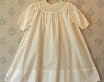 Vintage White Cotton Embroidered Floral Lace Trimmed Baby's Dress