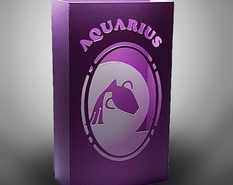 Aquarius Zodiac box card with envelope template