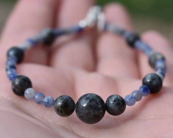 Sodalite and Blue Labradorite Bracelet, 925 Sterling Silver