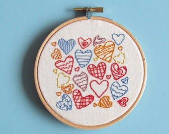 Love hearts embroidery wall art gift ideas