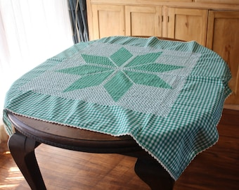 Embroidered Gingham Tablecloth Chicken Scratch Green White Checks 43 x 44