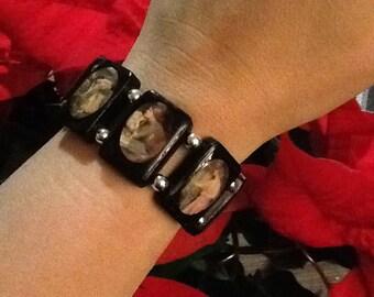 John William Waterhouse Women Black Wooden Tile Stretchy Bracelet