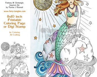 Full Moon Swimming Mermaid - Fairy Tangles Printable Coloring book Sheets by Norma J Burnell Mermaids to color Digital Adult Coloring pages